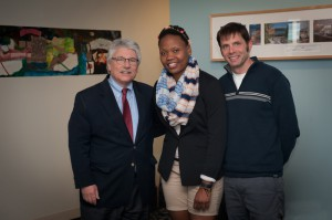 GCC President Robert Pura, 29 Who Shine recipient Guinevere Arthur Vanhorne, and Assistant Professor of Science Jay Gump