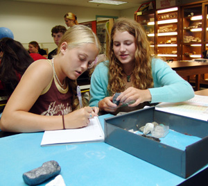 Students in a geology lab