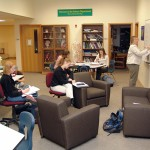GCC's Science Studio, a gathering space for students to study, get help from faculty, and browse science resources